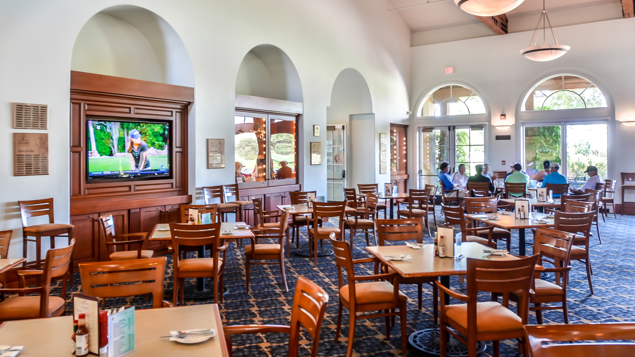 Interior of the dining area at San Juan Oaks